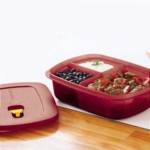 Tupperware Cristalwave Retangular com Divisórias Marsala 1 litro
