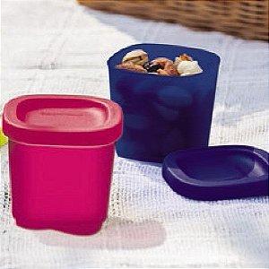 Tupperware Mini Refri Line Quadrado 110ml Kit 2 peças Azul e Rosa