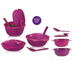 Tupperware Travessa Thermo Tup Rosa kit 3 peças