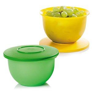 Tupperware Tigela Murano 1,3 litro 2 peças Verde e Amarelo