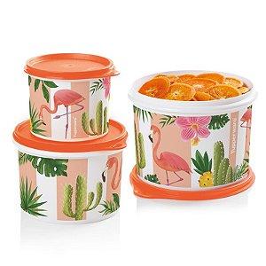 Tupperware Caixa Flamingo Kit 3 peças Laranja