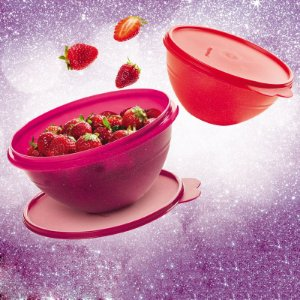 Tupperware Conjunto Tigela Maravilhosa 1 litro Vermelho Glitter + 1,8 litro Rosa Glitter
