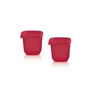 Tupperware Mini Refri Line Quadrado 110ml Kit 2 peças Rosa
