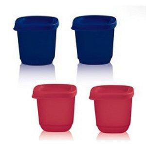 Tupperware Mini Refri Line Quadrado 110ml Kit 4 peças Rosa e Azul