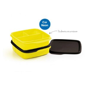 Tupperware  Basic Line Com Divisórias Amarelo Neon 500ml Kit 2 peças Brasil