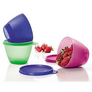 Tupperware Caçulinha 400ml Azul + Verde + Rosa Kit 3 peças