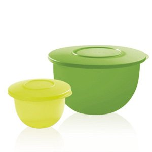 Tupperware Par Perfeito Tigela Murano 500ml + 2,5 Litros Verde e Amarela
