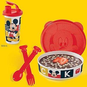 Tupperware Pratinho Copo Talheres Mickey Kit 4 peças
