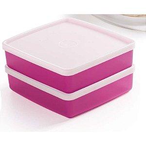 Tupperware Refri Box Rosa Kit 2 peças