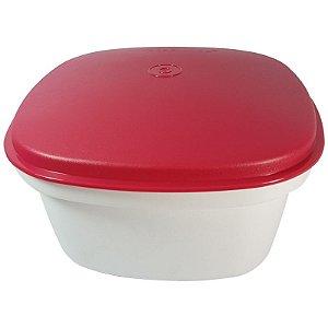 Tupperware Travessa Quadrada Actualité 2,5 Litros Branco Vermelho