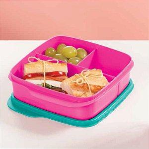 Tupperware Basic Line com Divisórias Rosa Neon Paradise 550ml