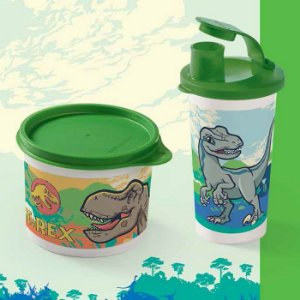 Tupperware Redondinha Jurassic World 500ml + Copo com Bico Jurassic Word 300ml