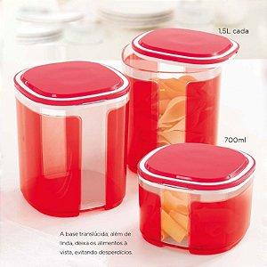 Tupperware Pote Visual Kit 3 peças Vermelho