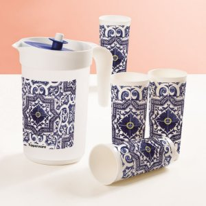 Tupperware Jarra Ilúmina 2 litros + Copos 470ml Azulejo kit 5 peças