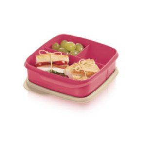 Tupperware Basic Line com divisória 550ml Rosa