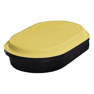 Tupperware Travessa Oval Actualité 2 litros Preto e Amarelo