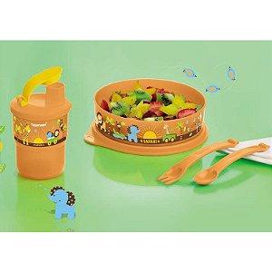 Tupperware Pratinho Baby Safari 500ml + Copo 225ml +Talheres Infantil