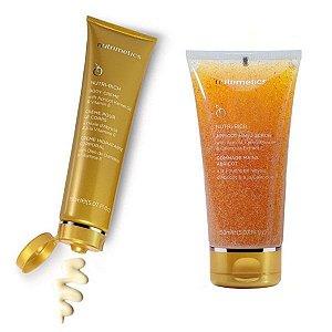 Nutrimetics Creme Hidratante Corporal Óleo de Damasco Nutri-Rich 150ml + Gel Esfoliante para Mãos com Semente de Damasco 150ml Grátis