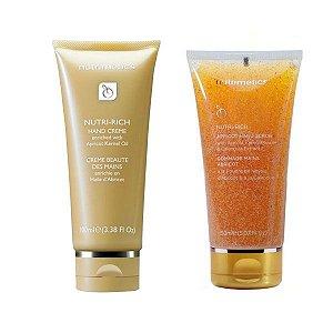 Nutrimetics Creme Hidratante para Mãos Óleo de Damasco Nutri-Rich 100ml + Gel Esfoliante para Mãos com Semente de Damasco 150ml Grátis