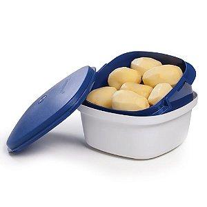 Tupperware Múltipla 2,5 Litros Branca tampa Azul Marinho