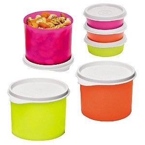 Tupperware Redondinha 500ml + Mini Snack Cup 70ml Neon Kit 6 Peças