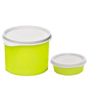 Tupperware Redondinha 500ml + Mini Snack Cup 70ml Amarelo Neon Neon kit 2 Peças