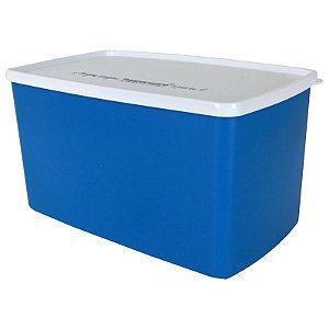 Tupperware Espaçosa Azul Escuro e Tampa Branca 3 litros