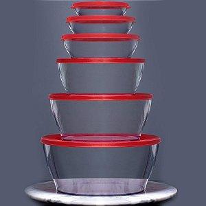Tupperware Tigela Clear Transparente Tampa Vermelha Kit 6 peças