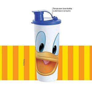Tupperware Copo Donald Infantil 470ml Bico Dosador Azul e Branco