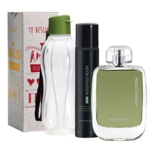 Nutrimetics Perfume e Desodorante Reserved Room + Tupperware Eco Tupper Garrafa Plus 500ml + Caixa Presenteável Esperança