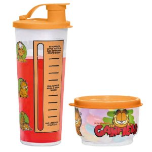 Tupperware Copo com Bico Garfield 470ml + Potinho Garfield 140ml kit 2 Peças