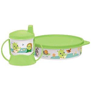Tupperware Pratinho Baby Shrek 500ml + Copinho com Bico e Alça Baby Shrek 150ml kit 2 Peças