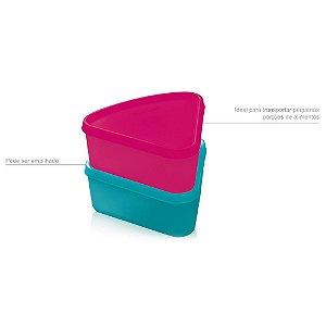 Tupperware Refri Box Triangular 250ml Rosa e Verde Água 2 peças
