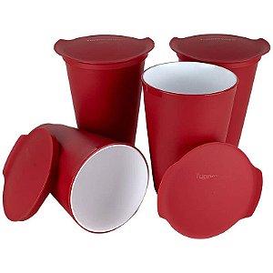 Tupperware Copo Allegra 450ml Vermelho Kit 4 Peças