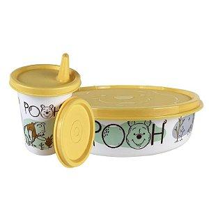 Tupperware Pratinho 500ml + Copinho com Bico 200ml Ursinho Pooh Kit 2 Peças