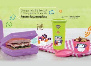 Tupperware Kit Coruja Porta Sanduíche + Copo + Potinho 3 peças