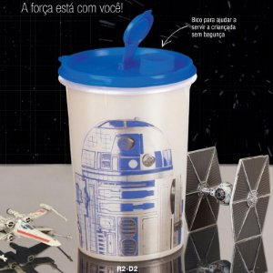 Tupperware Guarda Suco R2-D2 Star Wars 1 litro Branco e Azul