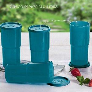 Tupperware Copos Colors 500ml Azul Turquesa Kit 4 peças