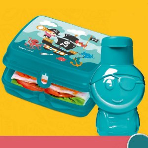 Tupperware Eco Kids 350ml + Porta Sanduíche Pirata Kit 2 Peças