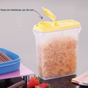 Tupperware Porta Cereais 850 ml Tampa Amarela