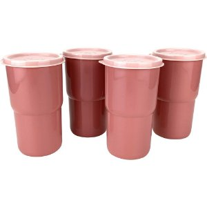 Tupperware Copo Colors 350ml Rosa Claro Kit 4 Peças