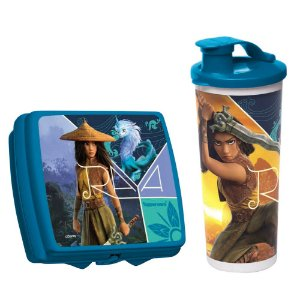 Tupperware Copo com Bico Princesa Raya 470ml + Porta Sanduíche Princesa Raya Kit 2 Peças