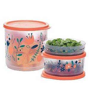 Tupperware Refri Line Redondo Floral Fresh Kit 3 Peças