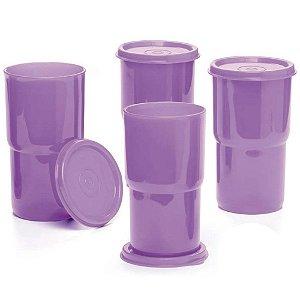 Tupperware Copo Colors 350ml Roxo Kit 4 Peças