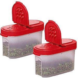 Tupperware Porta Temperos Pequeno 100ml Vermelho Kit 2 Peças