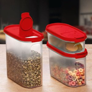 Tupperware Modular Oval Dispenser Vermelho Kit 3 Peças