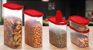 Tupperware Modular Oval Dispenser Vermelho Kit 5 Peças