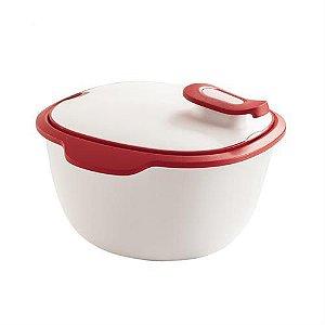 Tupperware Travessa Thermo Tup 3,25 Litros Branco e Vermelho
