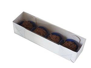 Embalagem branca para 4 doces (17,5x4,5x4)  pacote c/ 20 Unidades