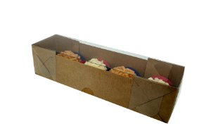 Embalagem kraft para 4 doces (17x4,5x4) pct c/20 Unidades
